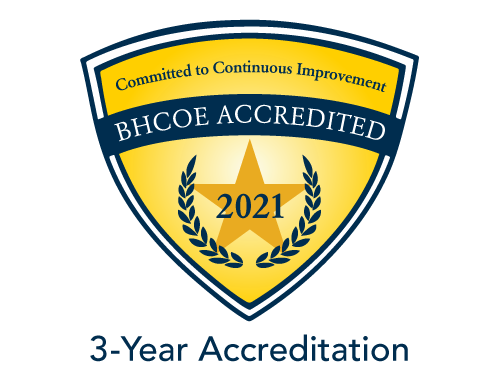 BHCOE Accredited. Commited to Continuous Improvement. 2021 3-year accreditation
